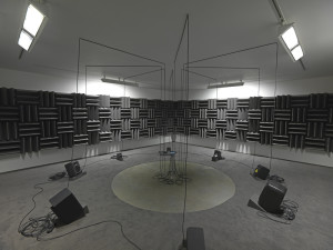 Haroon Mirza Adam, Eve, others and a UFO , 2013 Active speakers, UFO circuit, cables Dimensions variable